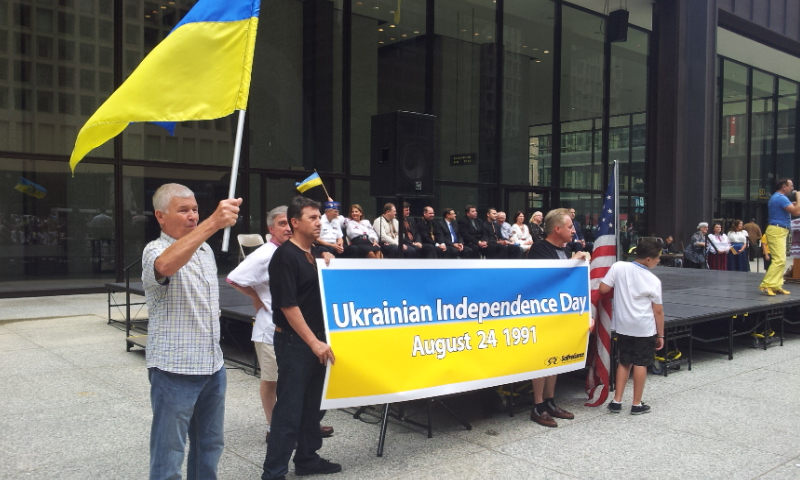 ЧИКАГО. С флагом в руке автор материала, спецкор Василий Дедов