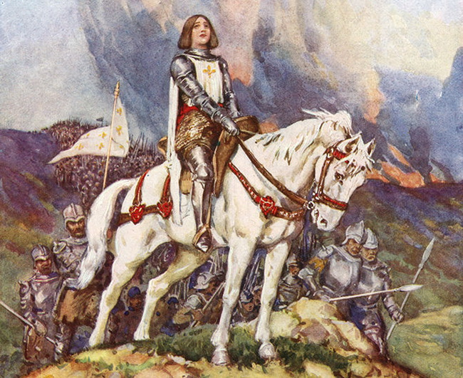 Joan of Arc (c1412-31) St Joan, St Jeanne d'Arc, the Maid of Orleans. French patriot and martyr. Joan at the head of the French army. Early 20th century illustration.