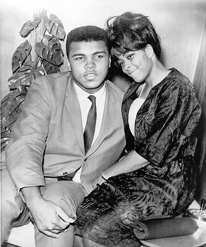 1964 file photo of Cassius Clay and his wife Sonji. AP photo. Sonji Clay-Glover obit.