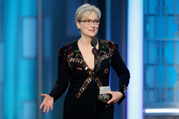 Actress Meryl Streep accepts the Cecil B. DeMille Award during the 74th Annual Golden Globe Awards show in Beverly Hills, California, U.S., January 8, 2017. Paul Drinkwater/Courtesy of NBC/Handout via REUTERS ATTENTION EDITORS - THIS IMAGE WAS PROVIDED BY A THIRD PARTY. NO RESALES. NO ARCHIVE. For editorial use only. Additional clearance required for commercial or promotional use, contact your local office for assistance. Any commercial or promotional use of NBCUniversal content requires NBCUniversal's prior written consent. No book publishing without prior approval. TPX IMAGES OF THE DAY