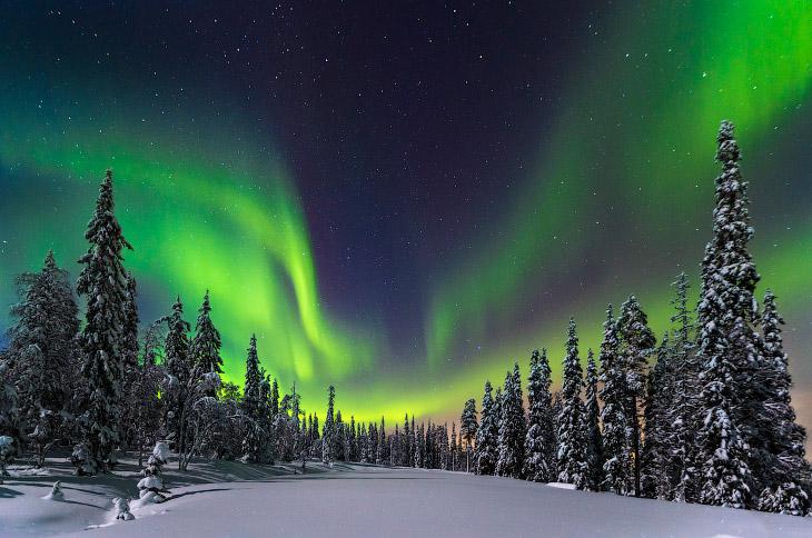 Северное сияние в национальном парке на севере Финляндии. (Фото Nicholas Roemmelt)