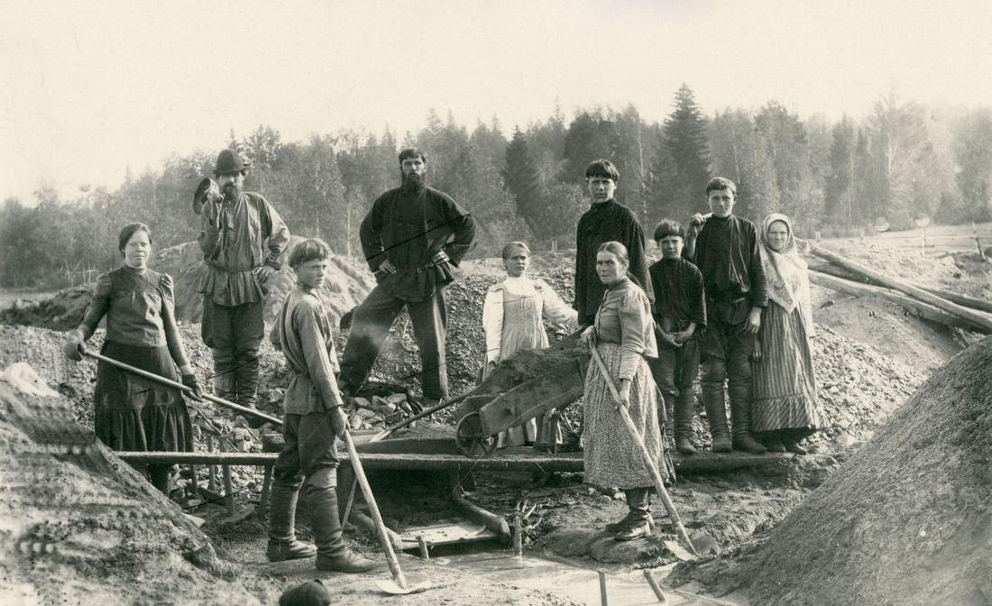 Добыча платины на прииске в Тагиле в царской России